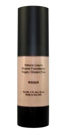 Natural Coverage Liquid Mineral Foundation Makeup - 90% Organic Ingredients, Gluten-Free, Paraben Free, Vegan, Cruelty-Free, Made in USA (BISQUE-COOL LIGHT)