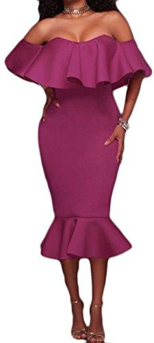 Cromoncent Off Party Womens Sexy Shoulder Purple Dress Mermaid Bodycon Ruffle Midi BBUFqrxw