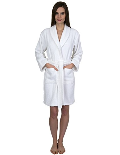 - TowelSelections Womens Short Turkish Cotton Robe Terry Bathrobe X-Large White