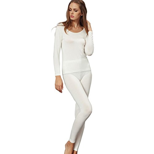 (Liang Rou Women's Crewneck Long Johns Ultra Thin Thermal Underwear Set Off-White L)