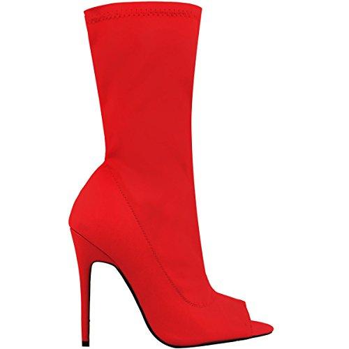 Moda Donna Sete Tronchetti Stretch Lycra Stiletto Tacchi Alti Scarpe Peep Toe Taglia Lycra Rosso