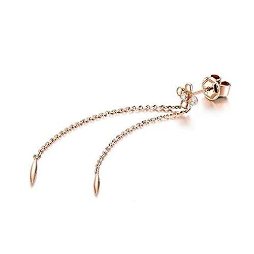 Beydodo 1.18g 18K Rose Gold Dangle Earrings for Womens Flowers Tassel Pendant Earrings Drop for Wedding
