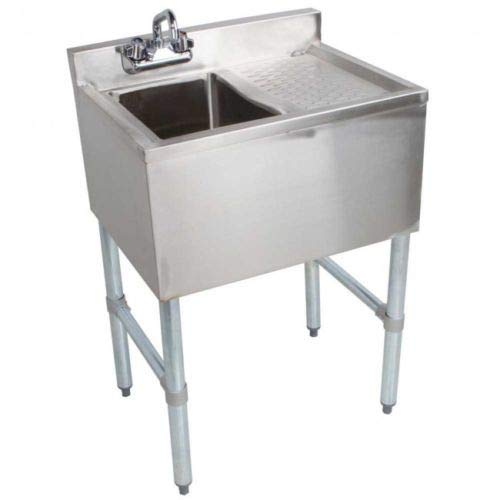 Underbar Stainless Steel Sink - Stainless Steel Single One Compartment Bar Sink with Right Drainboard 19 x 24