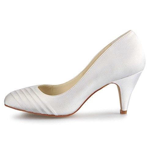 Jia Mi De Femme Volants Bout Mariage Talon Chaussures Mariée En 5949415 Satin Blanc Fermé Pour Pompes HrwHapq