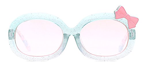 modesoda Girl Sparkly Green Wayfarer Sunglasses with Pink Bow for Age 3-8 - Pink Sparkly Sunglasses
