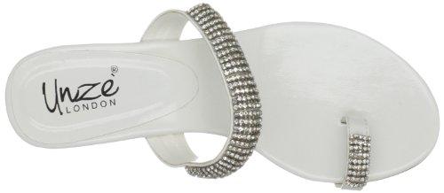 Unze Evening Sandals L18367W - Sandalias para mujer Blanco