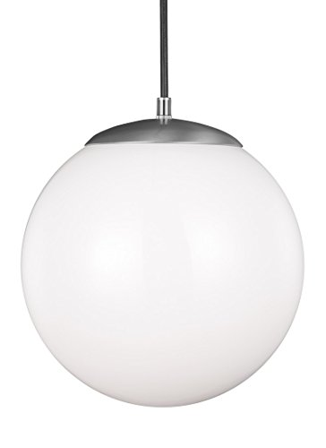 Sea Gull Lighting 6022-04  Leo Hanging Globe One-Light Pendant Hanging Modern Light Fixture, Satin Aluminum Finish