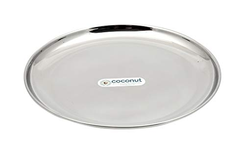 Coconut Stainless Steel Plate, Silver