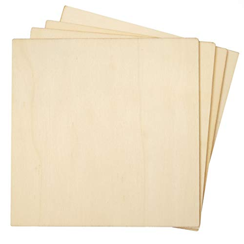 Bright Creations 36-Pack Unfinished Wood Square Cutout Pieces for DIY Crafts, 5 Inches]()
