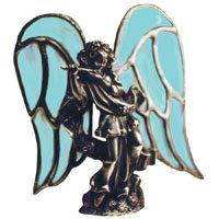 Lead Free Casting for Stained Glass - Standing Angel with Ribbon Hand Cast Sculpture by Angel
