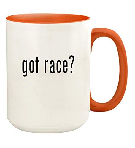 got race? - 15oz Ceramic Colored Handle and Inside Coffee Mug Cup, Orange
