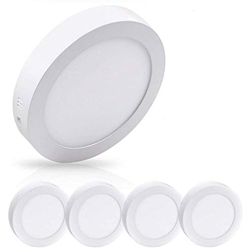 "LED Flush Mount Ceiling Light 8.86"" 18W Round surface mounted ceiling lights 1400LM Daylight White 5000K Wall Fixture Lamps for Kitchen, Dinning Room,Bathroom-5pack Non Dimmable (Mount Flush Spotlight Wall)"
