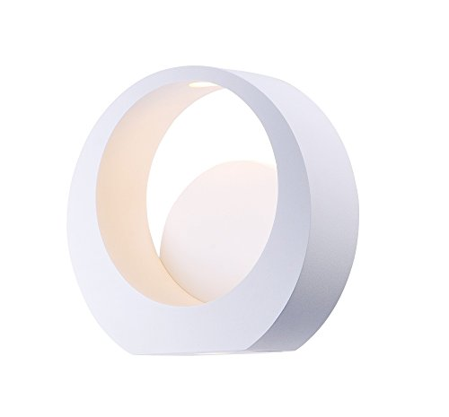 - ET2 E41047-WT Alumilux LED Outdoor Wall Sconce, White Finish, Glass, PCB LED Bulb, 50W Max., Dry Safety Rated, 2700K Color Temp., Standard Dimmable, Natural Fiber Shade Material, 7040 Rated Lumens