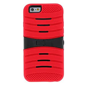 GJY2 in 1 Design Cross Line Pattern PC+Solicone Cover with Stand for iPhone 6