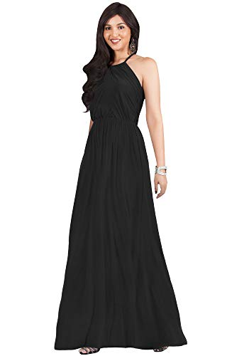 KOH KOH Womens Long Bridesmaid Sleeveless Cocktail Evening Prom Formal Special Occasion Floor-Length Beach Wedding Party Guest A-Line Flowy Gowns Maxi Dresses, Black M - Jersey Black Gown
