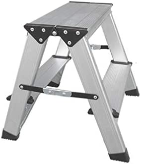 HUOQILIN Folding ladder Folding Step Stool Thick Aluminum Alloy Two-step Three-step Double-sided Herringbone Dual-use Small Ladder Chair Horse Stool Step stool (Size : 2 steps)