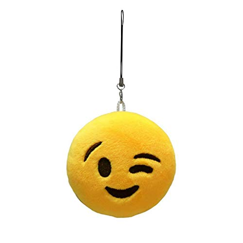 Round Plush Emoji Pendant Key Chain Strap Stylish Bag Decoration Assorted Design (Model - Wink) ()