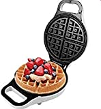 "J-JATI Electric 10""Round Waffle Maker Iron None Stick Surface Rotary Plate SW228-W"
