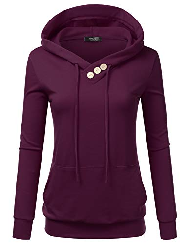 (Doublju Womens Casual Lightweight Long Sleeve Pullover Hoodie with Plus Sizes Plum X-Large)