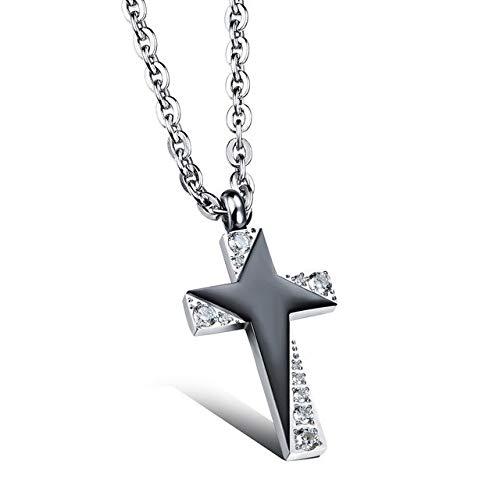 Davitu Romantic Stainless Steel Cross Design Lovers Pendant Necklaces Classical Cubic Zirconia Women Men Jewelry Couple Necklace Gift Metal Color: Man