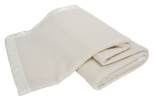 Creswick Luxurious All-Natural 100-Percent Australian Merino Wool Oversized Blanket, King, Cream Satin