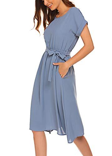 Women's Vintage Dress Elegant Midi Evening Dress Batwing Sleeves Teal,XL