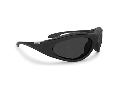 BERTONI Motorradbrille Beschlagfrei Windschutz – Matt Schwarz AF12C Bikerbrillen
