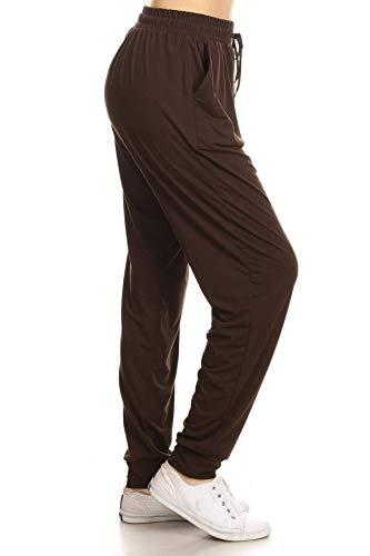 JGAX128-BROWN-1XL Solid Jogger Track Pants w/Pockets, 1-XL Plus
