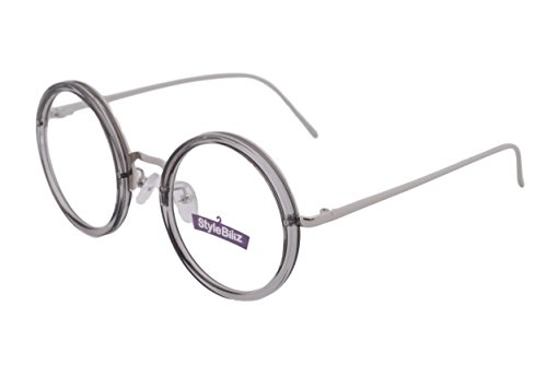 Stylebiz Unisex Prescription Ready Classic Frame Eyeglasses with Clear Lens-Round 4564 (Gray - Frames Gray Glasses