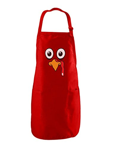 (Turkey Face - Funny Thanksgiving Cooking Chef Apron One Size Red)