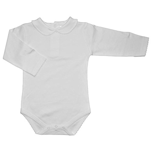 llared Onesie - Long Sleeve, Extra Soft, 5 Colors Available (6-12 Months, White) (White Collar Boy Shirt)