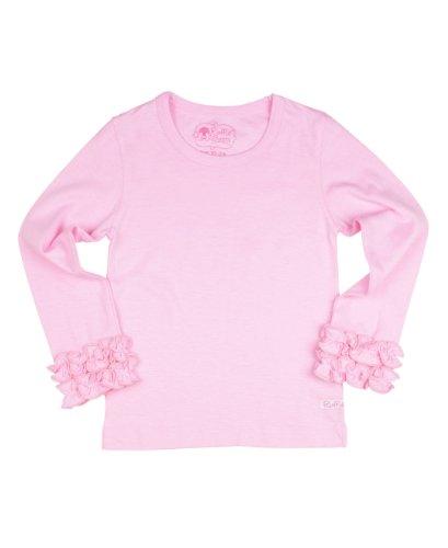 RuffleButts Little Girls Ruffled Long Sleeve Undershirt Tee - Pink - 3T