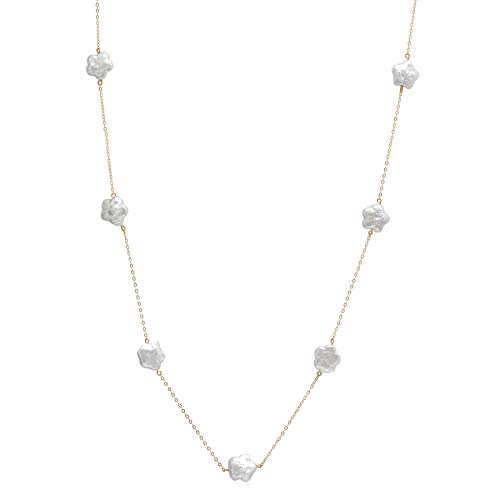14K Yellow Gold Star Shape Coin Cultured Freshwater Pearl Tin Cup Chain Necklace Jewelry for Women 20