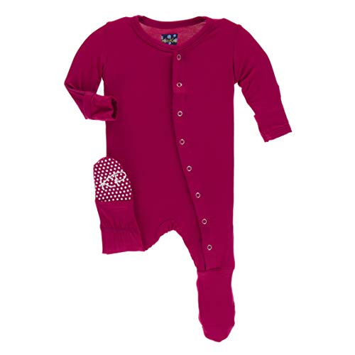 Kickee Pants Little Boys and Girls Solid Footie with Snaps - Rhododendron, ()