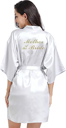 Medium Grey Satin - DF-deals Women's Satin Kimono Robe for Bridesmaid and Bride Wedding Party Getting Ready Short Robe with Gold Glitter Silvery Grey X-Large