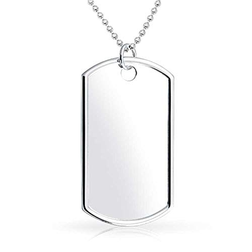 Mens Large Army Dog Tag Pendant Necklace For Men Engravable Polished 925 Sterling Silver Shot Bead Ball Chain 24 Inch