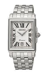Seiko Premier Silver Dial Stainless Steel Mens Watch SKK715