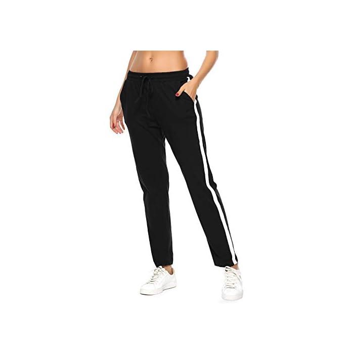 31BDibBnaeL Pantalón largo para deportes, dormir y también para la calle. Los elegantes pantalones de ocio son adecuados para muchos deportes, correr, hacer ejercicio o en el gimnasio. Y también puede como un sudor informal en el tiempo libre. Pantalones de mujer con rayas en los laterales, con cintura elástica con cordón y dos bolsillos. 100% Algodón