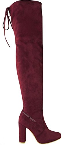 Block Pizzo Scarpe In Tacco Womens Over Boots Ladies Stretch Knee Vino The Suede Spillo A xY747gTq0