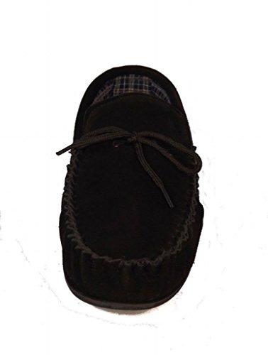 Herren BRUCE Echt Wildleder Leder Mokassins mit robuster PVC-Sohle, Schwarz - schwarz - Größe: 43