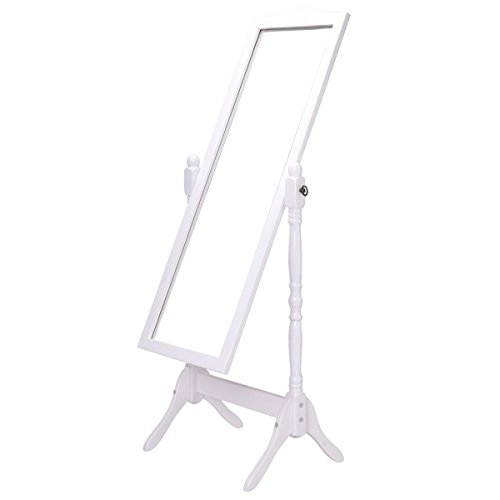 Dressing Mirror Full Length Swivel Floor Standing Antique Wood White