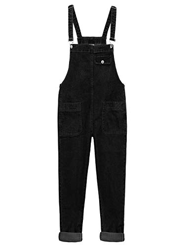 (Yeokou Women's Casual Denim Cropped Harem Overalls Pant Jeans Jumpsuits (Medium, Black))