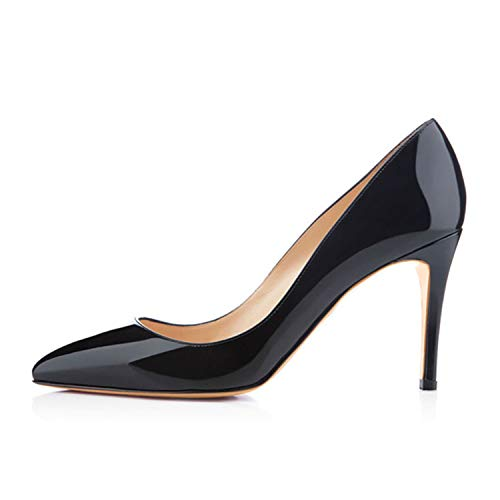 KKEPO& 3.5 Inches 8.5cm Thin High Heel Women's Pumps Shoes Sexy Pointed Toe Wedding Shoes Party Pumps Patent Leather Shoes H170130 15