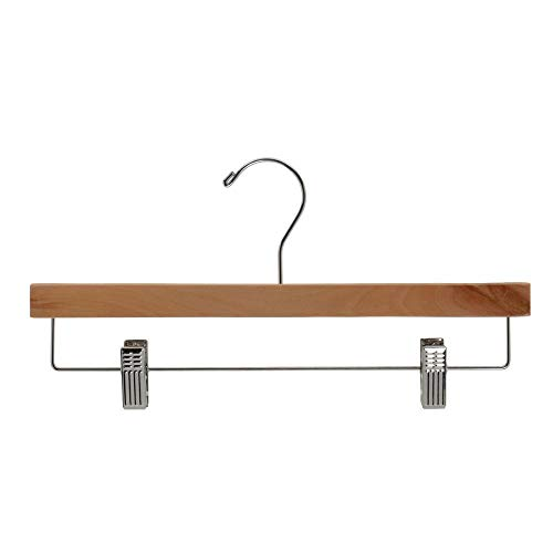 """NAHANCO 6214RCCH 14"""" Wooden Pant Skirt Hanger with Chrome Hook and Clips, Natural (Pack of 100)"""