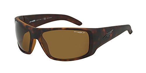 Arnette Men's AN4179 La Pistola Rectangular Wrap Sunglasses, Tortoise /Polarized Brown , 66 ()