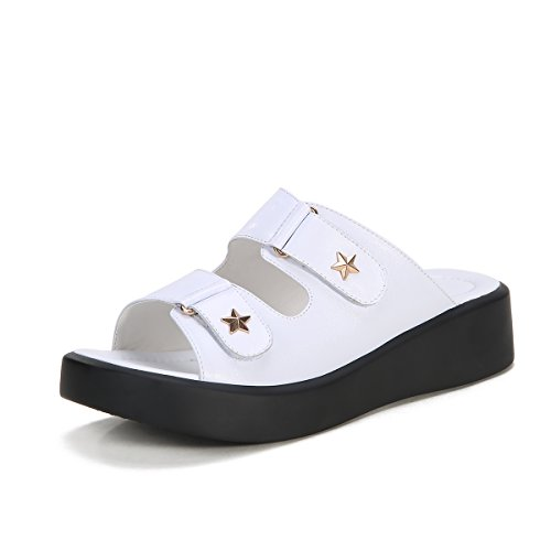 Minivog Zapatillas Plano Para Mujer Blanco