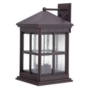 Berkeley Outdoor Sconce - Minka Great Outdoors 8563-51 Berkeley - Four Light Outdoor Wall Mount, Rust Finish with Clear Seeded Glass