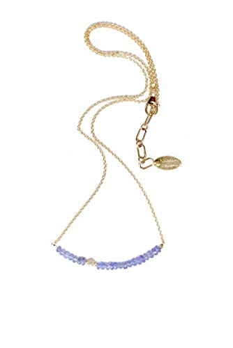 Raw White Diamond Tanzanite Gemstone Bar Necklace December Birthstone Jewelry - 16