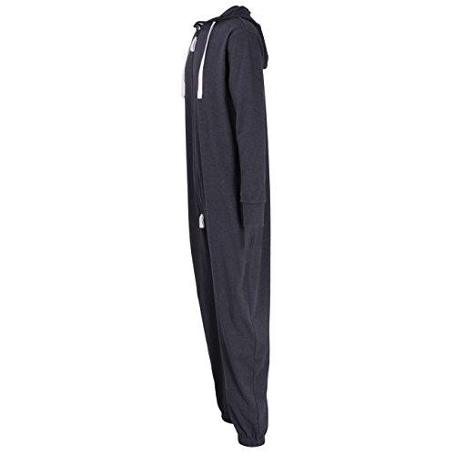 CECEBA Herren Jumpsuit, Overall, Onesie langarm, Baumwolle, Interlock, blau melange, mit Bündchen