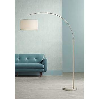 Arch Floor Lamp Stainless Steel Marble Base White Linen